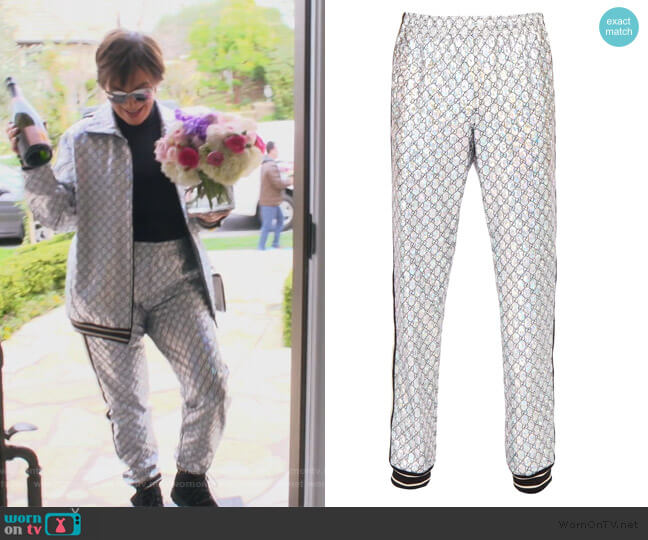 Black & Silver GG Printed Lounge Pants by Gucci worn by Kris Jenner  on Keeping Up with the Kardashians