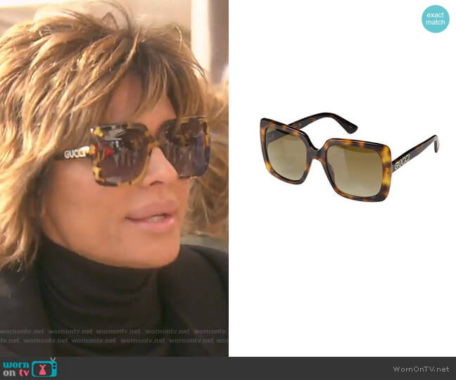GG418S Sunglasses by Gucci worn by Lisa Rinna  on The Real Housewives of Beverly Hills