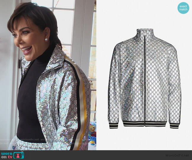 Logo-print iridescent shell jacket by Gucci worn by Kris Jenner  on Keeping Up with the Kardashians