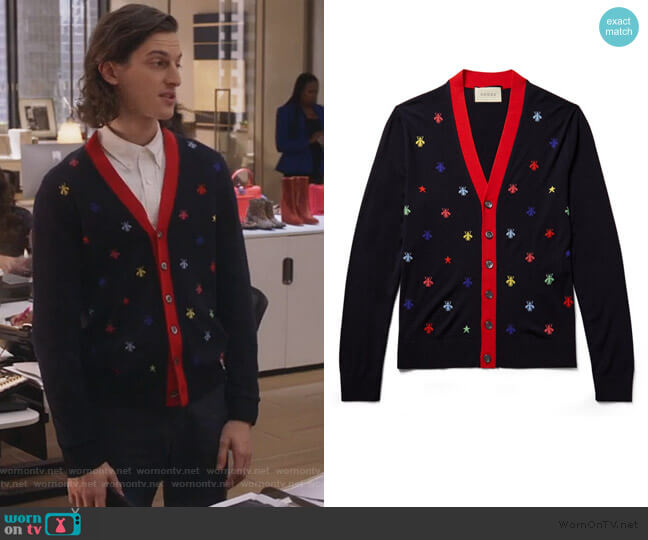 Slim-Fit Intarsia Wool Cardigan by Gucci worn by Peter Vack on The Bold Type