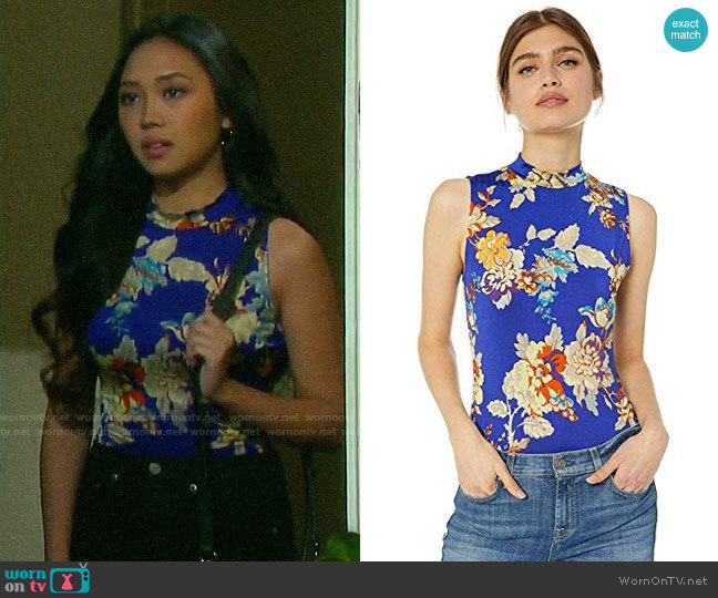 Guess Mikah Mock Neck Bodysuit in Dahlia Moss Blue Iris worn by Haley Chen (Thia Megia) on Days of our Lives