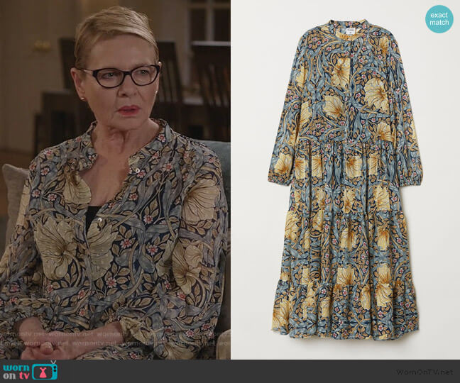 Patterned Maxi Dress by H&M worn by Joan Short (Dianne Wiest) on Life in Pieces