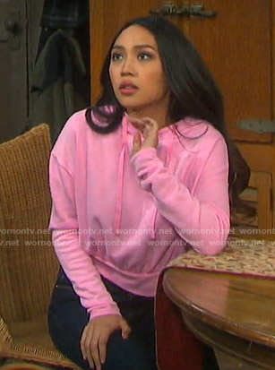 Haley's pink cropped hoodie on Days of our Lives