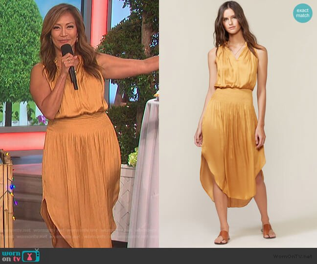 Sleeveless Smocked Waist Midi Dress by Halston Heritage worn by Carrie Inaba  on The Talk