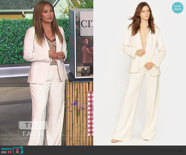 Slit Cuff Crepe Blazer and Wide Leg Pants by Halston Heritage worn by Carrie Inaba  on The Talk