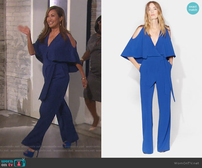 Cold Shoulder Jumpsuit with Waist Sash by Halston Heritage worn by Carrie Inaba  on The Talk