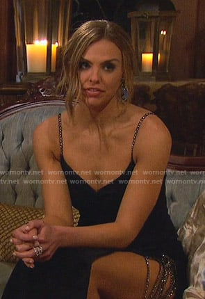 Hannah's black chain strap gown on The Bachelorette