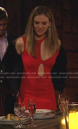 Hannah's red asymmetric cutout dress on The Bachelorette