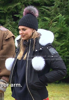 Hannah's black down jacket with pom poms on The Bachelorette