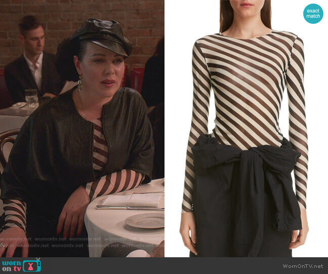 Heston Bias Stripe Top by Dries van Noten worn by Maggie (Debi Mazar) on Younger