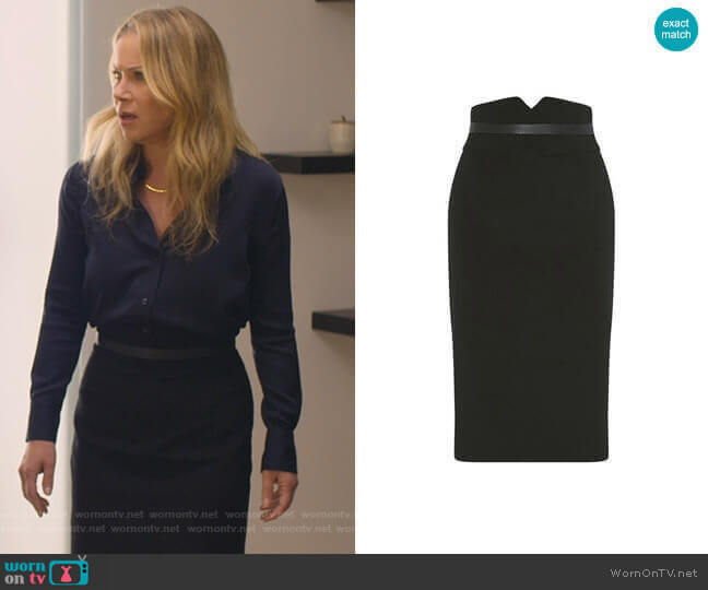 High-Waisted Pencil Skirt by Karen Millen worn by Jen Harding (Christina Applegate) on Dead to Me
