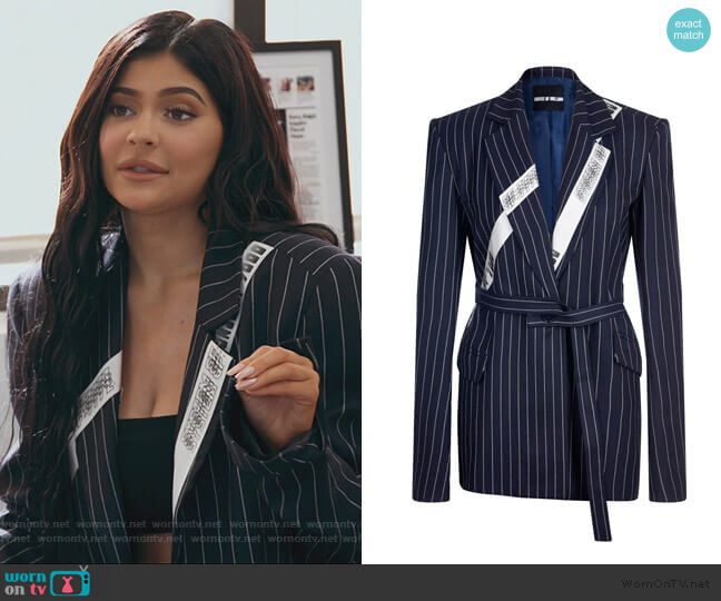 Navy Pinstripe Wool Jacket by House of Holland worn by Kylie Jenner  on Keeping Up with the Kardashians