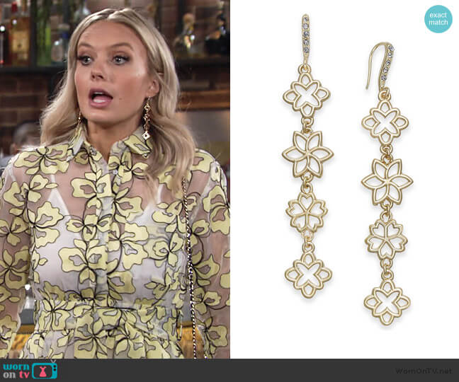 Flower Linear Drop Earrings by INC International Concepts worn by Abby Newman (Melissa Ordway) on The Young & the Restless