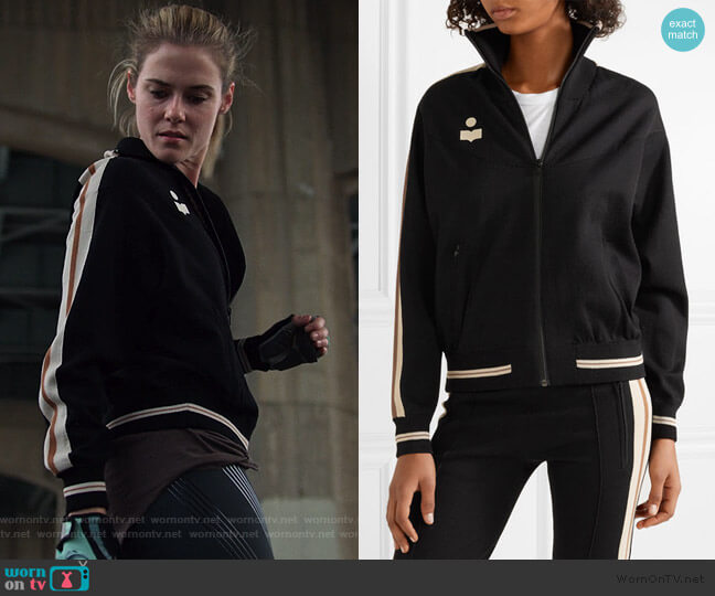Darcy striped stretch-knit track jacket by Etoile Isabel Marant worn by Trish Walker (Rachael Taylor) on Jessica Jones