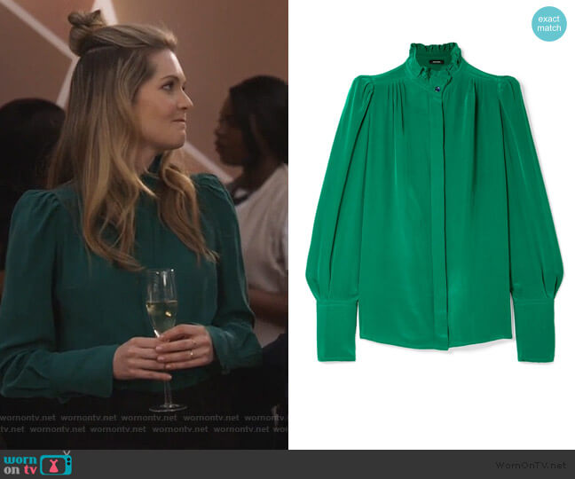 Lamia ruffle-trimmed silk blouse by Isabel Marant worn by Sutton (Meghann Fahy) on The Bold Type
