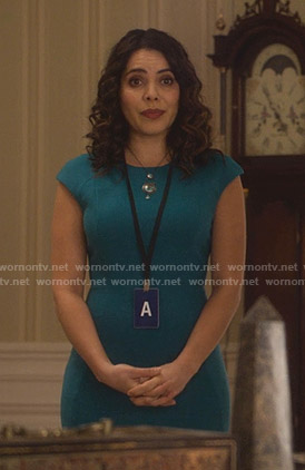 Isabel's turquoise cap sleeve dress on Designated Survivor