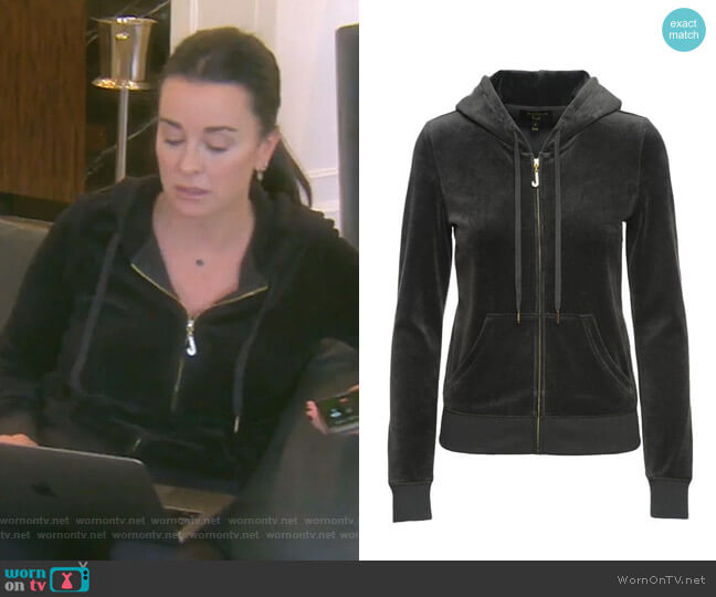J Bling Velour Robertson Jacket by Juicy Couture worn by Kyle Richards  on The Real Housewives of Beverly Hills