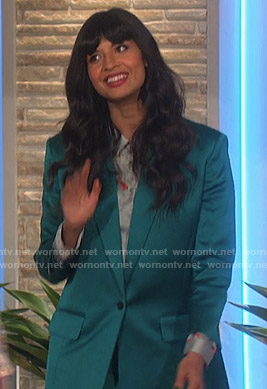 Jameela Jamil's green satin suit on The Talk