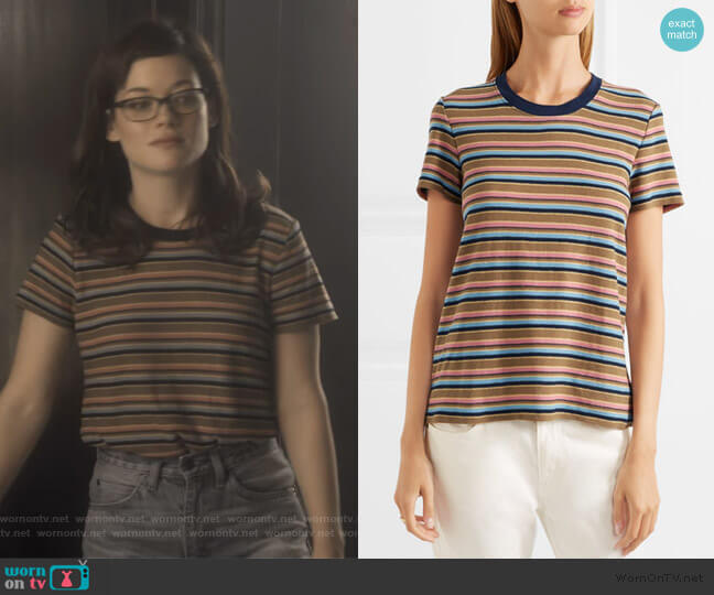 Vintage Boy striped cotton-blend jersey T-shirt by James Perse worn by Lisa Donovan (Jane Levy) on What/If