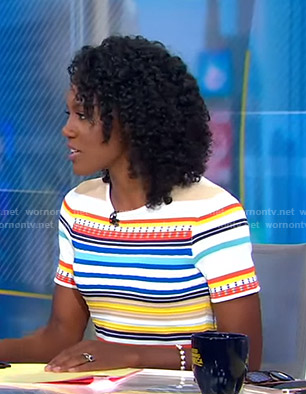 Janai's multicolored striped dress on Good Morning America