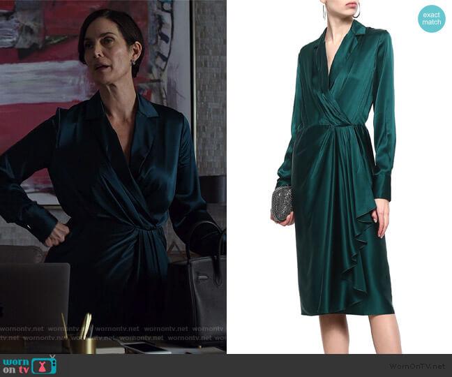 Wrap-effect draped silk-satin dress by Jason Wu worn by Carrie-Anne Moss on Jessica Jones worn by Jeryn Hogarth (Carrie-Anne Moss) on Jessica Jones