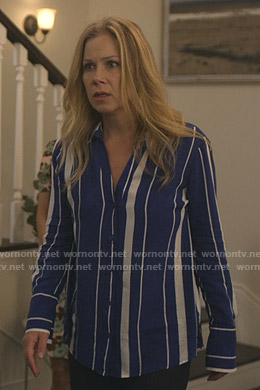 Jen's blue striped blouse on Dead to Me