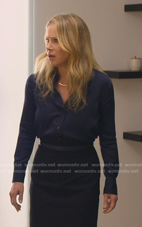 Jen's navy blouse and pencil skirt on Dead to Me