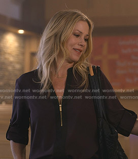 Jen's purple zip front blouse on Dead to Me