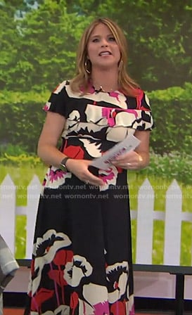 Jenna's black floral ruffled dress on Today