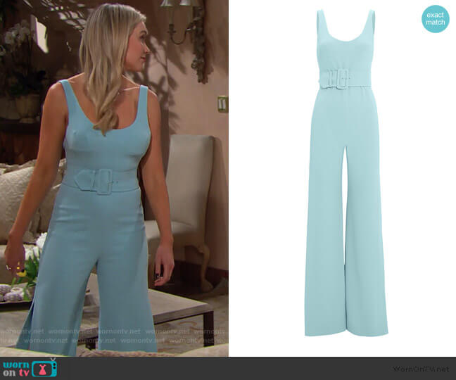 Belted Crepe Jumpsuit by Jonathan Simkhai worn by Florence (Katrina Bowden) on The Bold & the Beautiful