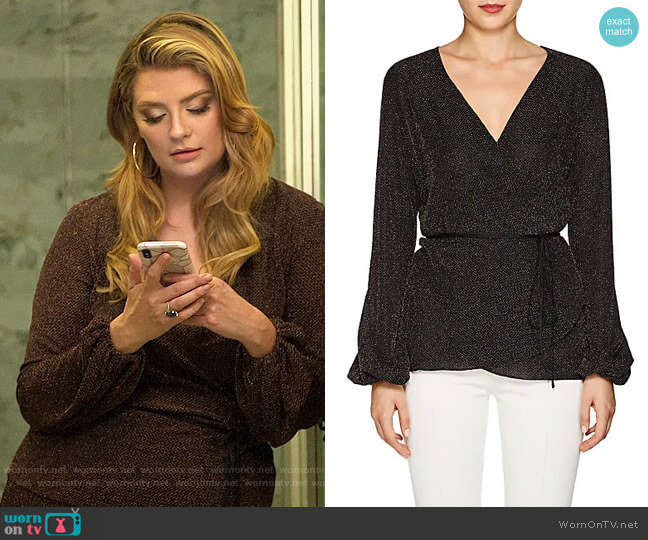 Juan Carlos Obando Metallic Jersey Wrap Top worn by Mischa Barton  on The Hills New Beginnings
