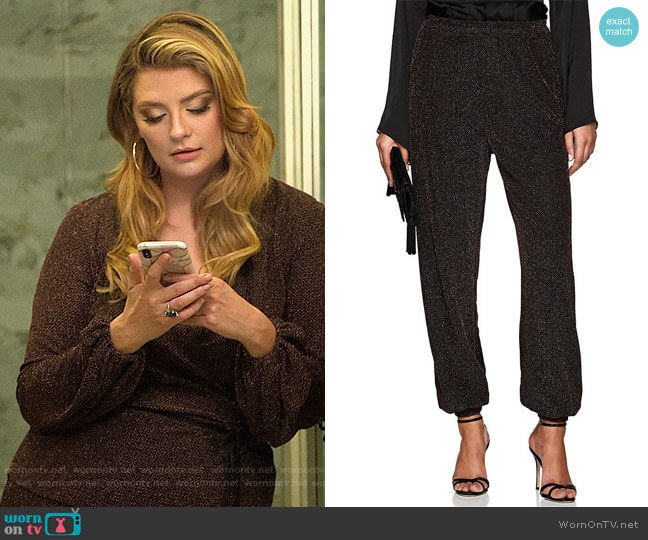 Juan Carlos Obando Metallic Knit Harem Pants worn by Mischa Barton  on The Hills New Beginnings