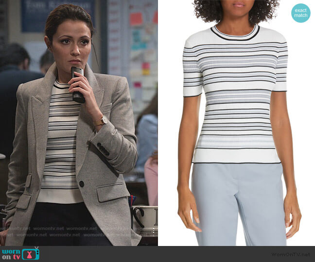 Andante Stripe Sweater by Judith and Charles worn by Emily Rhodes (Italia Ricci) on Designated Survivor