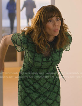 Judy's green lace tie neck dress on Dead to Me