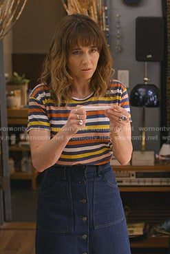 Judy's multicolored striped tee on Dead to Me