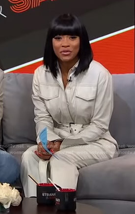 Keke's white belted jumpsuit on GMA Strahan And Sara