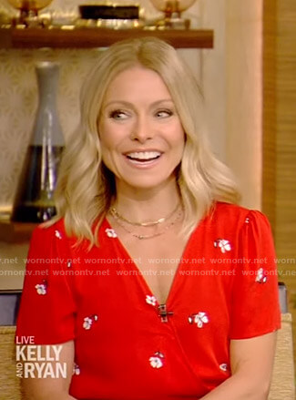 Kelly's red floral wrap dress on Live with Kelly and Ryan