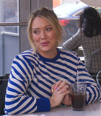 Kelsey's blue and white diagonal striped sweater on Younger