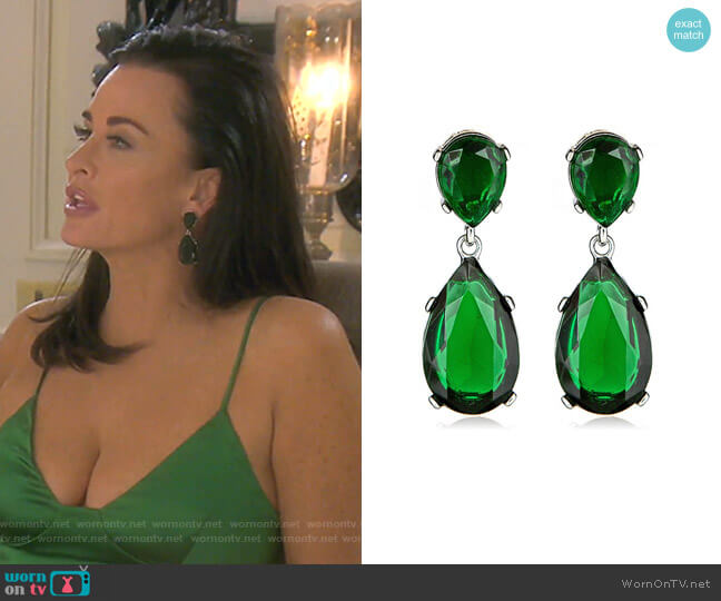 Emerald-Color Teardrop Earrings by Kenneth Jay Lane worn by Kyle Richards  on The Real Housewives of Beverly Hills