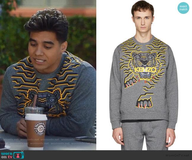 Gray Geo Tiger Sweatshirt by Kenzo worn by Vivek Shah (Jordan Buhat) on Grown-ish