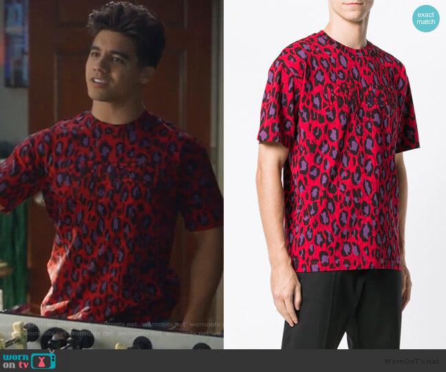 Logo Leopard Print T-Shirt by Kenzo worn by Vivek Shah (Jordan Buhat) on Grown-ish