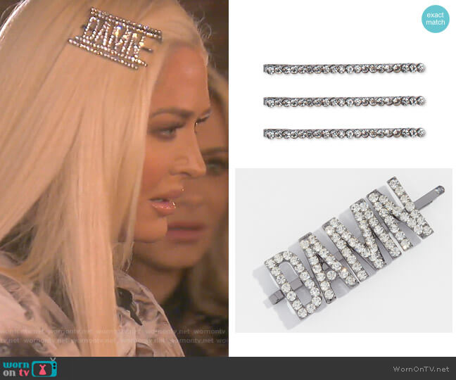 Damn Rhinestone Bobby Pin and Rhinestone Bobby Pins by Kitsch worn by Erika Girardi  on The Real Housewives of Beverly Hills