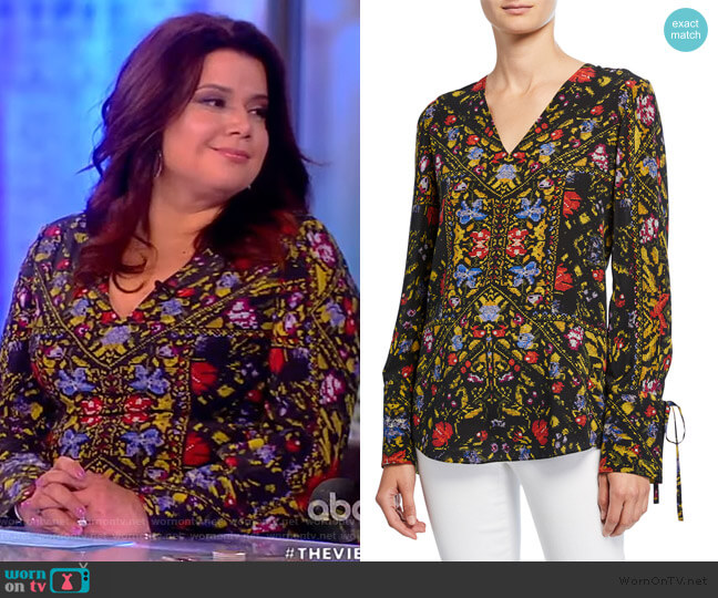 Liana Printed V-Neck Blouse by Kobi Halperin worn by Ana Navarro  on The View