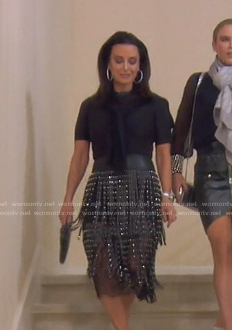 Kyle's black fringed leather skirt on The Real Housewives of Beverly Hills