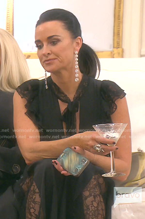 Kyle's black tie neck lace jumpsuit on The Real Housewives of Beverly Hills