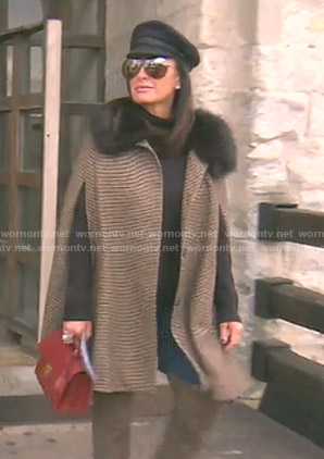 Kyle's brown houndstooth cape on The Real Housewives of Beverly Hills