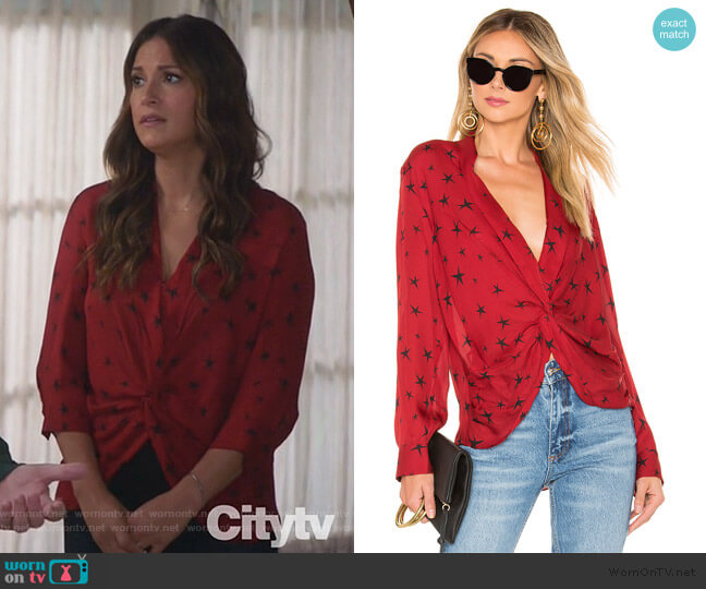 Mariposa Blouse by L'Agence worn by Colleen Brandon-Ortega (Angelique Cabral) on Life in Pieces