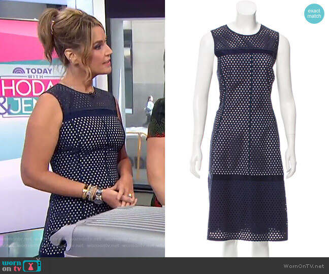 Sleeveless Eyelet Dress by Lela Rose worn by Savannah Guthrie  on Today