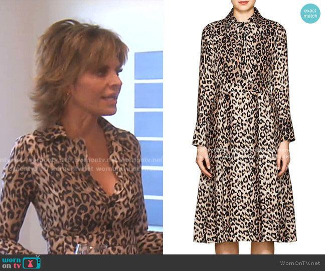 Leopard-Print Silk Shirtdress by Barneys New York worn by Lisa Rinna  on The Real Housewives of Beverly Hills