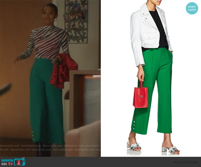 Crop Wide-Leg Trousers by Lisa Perry worn by Zoey Johnson (Yara Shahidi) on Grown-ish